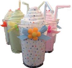 Milkshake onesie: roll up a onesies in a cup & pull up a piece of it & insert a bendable straw= cute baby shower gift idea!