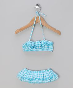 Take a look at this Aqua Gingham Swan Sunsuit - Toddler & Girls on zulily today!