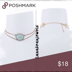 Turquoise gold choker! Brand new gold choker with a center turquoise stone with crystal gems around it! Jewelry Necklaces