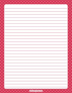 Printable pink polka dot stationery and writing paper. Multiple versions available with or without lines. Free PDF downloads at http://stationerytree.com/download/pink-polka-dot-stationery/