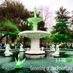 The fountains are officially green in Savannah for St. Patrick's Day 2014! #Birando