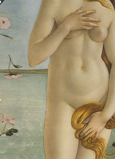 Botticelli - detail Venus    Sandro Botticelli (1445-1510)  The Birth of Venus, detail (1486)  Florence Uffizi