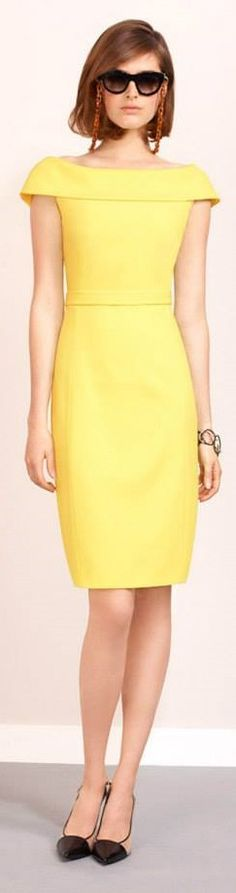 Paule Ka 2015 yellow neutral dress. women fashion outfit clothing stylish apparel @roressclothes closet ideas