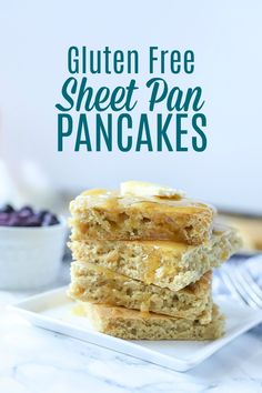 Easy gluten free sheet pan pancakes are a fluffy irresistible breakfast. This oven baked pancake recipe will make pancake making so much easier and transform your morning. #ablossominglife #pancakes #glutenfree #sheetpanpancakes