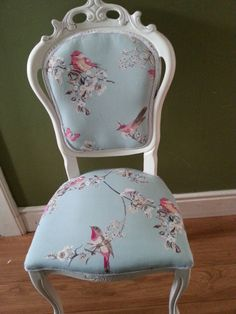 SHABBY CHIC FRENCH STYLE  CHAIR ( BEAUTIFUL BIRDS FABRIC)
