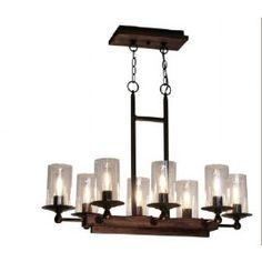 Luminaire suspendu de forme rectangle en bois pin foncé avec métal