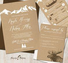 Yosemite Wedding Wedding Invitation Suite: Mountains Colorado Kraft by pixelpaper - Mountain Wedding Invitations, Affordable Wedding Invitations, Rustic Invitations, Wedding Invitation Suite, Wedding Stationary, Invitation Cards, Invitation Templates, Wedding Suite, Invitation Envelopes