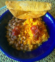 Pinto beans, Spanish rice, tortilla and salsa. Comfort food New Mexico style.