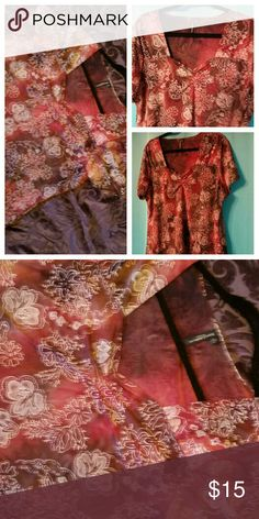 2X short sleeve blouse Sparkling fall color polyester  / spandex , sweet heart neckline Tops Blouses