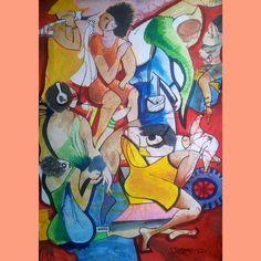 Mundo dos sonhadores  Joao timane  Aguarela sobre cartolina
