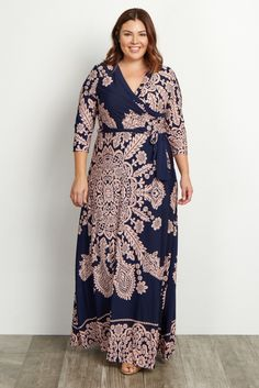 Navy Printed Draped Plus Maxi Dress Plus Size Maxi Dress Check out our amazing collection of plus size dresses at wholesaleplussize… Plus Size Red Dress, Plus Size Maxi Dresses, Plus Size Outfits, Curvy Girl Fashion, Plus Size Fashion, Womens Fashion, Cute Summer Dresses, Cute Dresses, Dresses Dresses