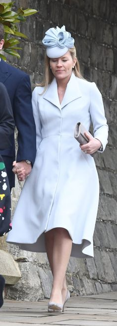 Princess Eugenie stepped out alongside fiancé Jack Brooksbank to attend an Easter church service with the royal family. The Princess was a. Autumn Phillips, Seasonal Color Analysis, Full Circle Skirts, Colourful Outfits, Coat Dress, Fall Dresses, British Royals, Blue Fashion, Winter Outfits