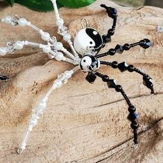 Beaded Spider Ornament | Etsy Metal Beads, Silver Beads, Glass Beads, Ceramic Christmas Tree Lights, Christmas Spider, Beaded Spiders, Steampunk Accessories, Decorative Hooks, Beaded Skull