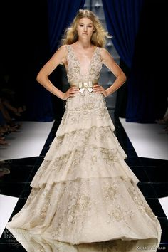 Zuhair Murad Couture Fall/Winter 2010-2011 - tiered metallic ivory gown