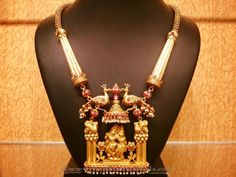 Traditional gold Temple Necklace Designs, Temple Antique Necklace Designs.