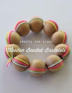 Kids (or Mom!) DIY wooden beaded bracelets. #kid #crafts