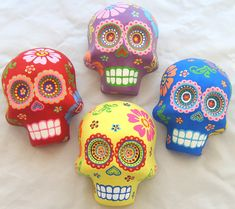 "https://flic.kr/p/4NKqcN | Bright Colorful Sugar Skulls | Skulls Measures 6"" tall and 4.5"" wide  The skull comes with a hook on the back for easy hanging on the wall  The skull is made of Plaster of Paris and it has been hand painted very carefully with colorful paints. The detail is amazing on this skull and will for sure impress everyone. It has a clear coat for protection.   This skull will look great everyone you place it. Ready to be displayed!  ***CUSTOM SKULLS ARE AVAILABLE ..."