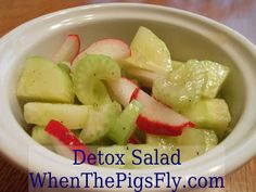 Clean Eating: Detox Salad recipe-- made up of celery, radish, and cucumber! The refreshing olive oil-lemon dressing gives it a great punch.