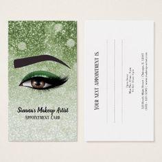 Green glam lashes eyes | makeup artist business card - glitter glamour brilliance sparkle design idea diy elegant