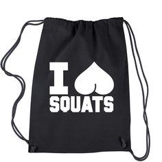 I Love Squats Workout Gym Drawstring Backpack Squat Workout, Workout Wear, Gym Workouts, Crossfit Shirts, Gym Tops, Fitness Wear, Shirt Shop, Squats, Drawstring Backpack