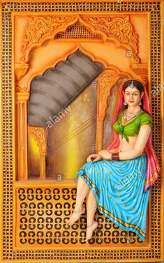 India Painting, Mural Painting, Woman Painting, Tanjore Painting, Krishna Painting, Clay Art Projects, Clay Crafts, Aluminum Foil Art, Rajasthani Painting