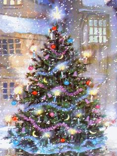 Weihnachtsbilder Golden Christmas Tree: Laced with golden ribbon, clear lights, and gold wire flower- and dove-sha Christmas Tree Gif, Beautiful Christmas Trees, Christmas Scenes, Christmas Past, Christmas Images, Winter Christmas, Christmas Decorations, Christmas Wishes, Winter Snow