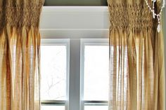 Get the Look:  Smocked Burlap Curtains  via www.thistlewoodfarms.com