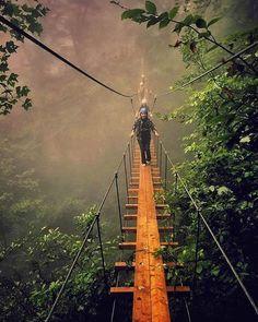 """Namak Abroud Suspension Bridge"", Chalus County, Mazandaran Province, Iran (Persian: پل معلق نمک ابرود، چالوس, مازندران) credit: amaryllis20/Instagram"