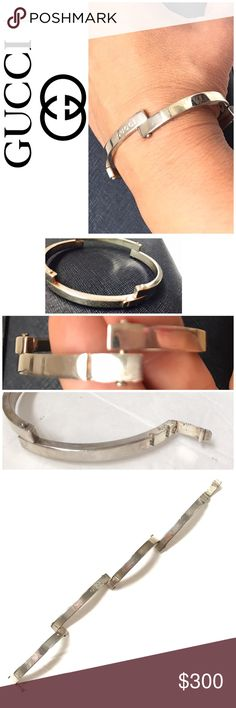 """Gucci Sterling Silver Bracelet Gucci Sterling Silver Bracelet Purchased at a boutique in Italy. 7"""" long measured. Oval shape measures 2 3/4"""" by 2.25"""" needs a polishing. Authentic Stamped preowned Gucci Jewelry Bracelets"""