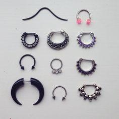 Imagem de Piercings and septum Septum Ring, Septum Piercing Jewelry, Cool Piercings, Piercing Tattoo, Cartilage Piercings, Tragus, Gauges, Soft Grunge, Unique Rings