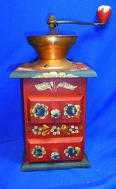 Vintage German Folk Art Tramp Art Handpainted Wood Coffee Mill #