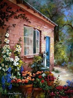 ✿Flowers at the window & door✿ Sharon Maia Wilson Paintings I Love, Beautiful Paintings, Artist Painting, Watercolor Paintings, Beautiful Homes, Beautiful Places, Pintura Exterior, Cottage Art, I Wallpaper