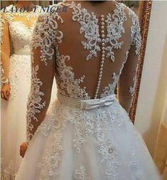 48d9106e08af Dlouhé šaty Elegantní Vestido De Noiva Dlouhé rukávy Svatební šaty 2018  Nové Vintage Lace Appliques Perly