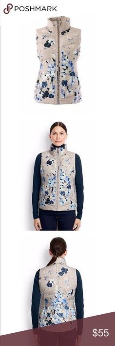 Lands End Floral Down Vest NWT Beautiful floral design outerwear vest by Lands End. Features Hyper Dry Water Resistance 600 Fill Count Silver Premium Down. Coil zipper advantage with ease of use and durability, there are no teeth that can break. 2 snap close pockets. If not for you, it would make a great gift for someone you love as it is new with tags Lands' End Jackets & Coats Vests