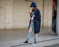 blue hat. New York Fashion Week SS2015 - Lincoln Center | THE STYLESEER