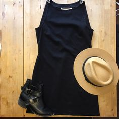 MAX STUDIO dress The classic little black dress with a twist! It has a high neckline and cool metal clasps for straps. Very trendy with chunky ankle boots or knee high gladiator sandals! Max Studio Dresses Mini