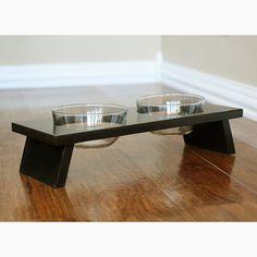 Designer dog or cat food bowl pet food dish black double feeder elevated bowl