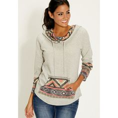 maurices French Terry Hoodie With Ethnic Detail ($34) ❤ liked on Polyvore featuring tops, hoodies, grey, gray hooded sweatshirt, long sleeve hoodie, long sleeve tops, hooded sweatshirt and sweatshirts hoodies