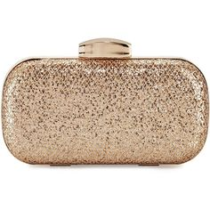La Sera Allie Glitter Evening Clutch Bag ($25) ❤ liked on Polyvore featuring bags, handbags, clutches, rose gold, rose gold clutches, holiday purse, special occasion handbags, rose gold handbag and kiss-lock handbags