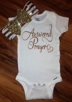 Answered Prayer Gold Sparkle baby girl onesie,going home outfit,newborn bodysuit,baby shower gift,spar Baby Boys, My Baby Girl, Baby Must Haves, Going Home Outfit, Baby Time, Cute Baby Clothes, Baby Bodysuit, Baby Girl Onesie, Rainbow Baby Onesie