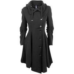 HIGH Jersey Asymmetric Button Trench (€705) ❤ liked on Polyvore featuring outerwear, coats, jackets, tops, black, button jerseys, asymmetrical trench coat, long sleeve jersey, asymmetrical coat and hooded coat