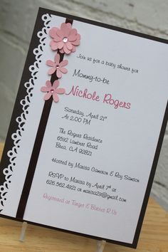 New baby shower invitations Love the punched edge and the flowers. Communion Invitations, Lace Wedding Invitations, Baby Shower Invitations, Party Invitations, Invites, Wedding Cards Handmade, Quinceanera Invitations, Baby Party, Anniversary Cards