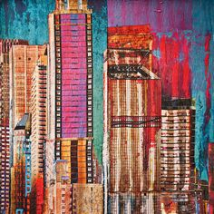 New York City mixed media art | From a unique collection of landscape paintings at https://www.1stdibs.com/art/paintings/landscape-paintings/