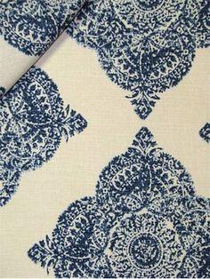 "Mani Indigo:John Robshaw Designer Fabric - Blockprint Textiles. Perfect drapery fabric or light use upholstery fabric. 95% cotton, 5% linen. Repeat: V: 13.5 H: 18.0, Duraguard finish. Made in U.S.A. 21038-193. 54"" wide"