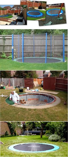 Safe and Cool: A Sunken Trampoline For Kids - Backyard play area for kids - Sunken Trampoline, Backyard Trampoline, Backyard Playground, Backyard For Kids, Backyard Projects, Outdoor Projects, In Ground Trampoline, Playground Ideas, Trampoline Ideas