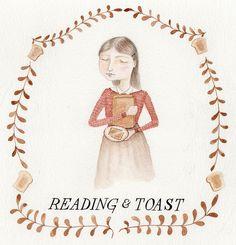 Reading and eating toast by @Julianna Swaney aka ohmycavalier