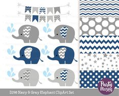 Navy Blue Baby Elephant Clipart Set Grey Chevron Sprinkle Water Cute Nursery Decor Clip art Set with Digital Paper Pack Shower Set -D290 by Partymazing
