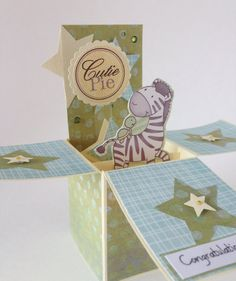 Baby Boy / new arrival card. Congratulations pop by CallMeCraftie