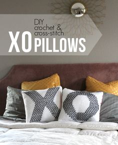 DIY Crochet and Cross-stitch valentine Pillows tutorial. Love the mix of techniques!