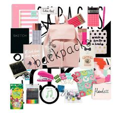 """""""Whats in my backpack chic"""" by eliyanakubelis ❤ liked on Polyvore featuring Mansur Gavriel, Boohoo, Kate Spade, Day Designer, Paper Mate, russell+hazel, Sandra Magsamen, Happy Plugs, backpacks and contestentry"""